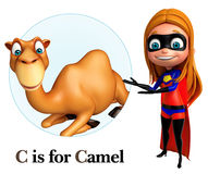 Super girl pointing camel Royalty Free Stock Photo