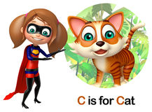 Super Girl pointing Cat Stock Images