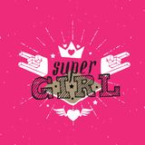 Super Girl - vector poster or print for girls clothes. Super Gir Royalty Free Stock Photo