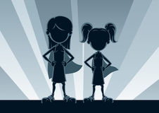 Super Girls Silhouettes Stock Photo