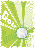 Super golf ball and big green explosion.Green background Stock Images