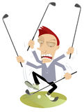 Super golfer. Golfer is playing golf by many clubs Royalty Free Stock Photography