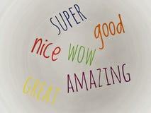 Super gutes wow erstaunliches des Wortes und groß in Mehrfarben lizenzfreies stockfoto