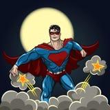 Super héroe con el cabo rojo ilustración del vector