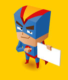 Super héroe con el tablero de la muestra Imágenes de archivo libres de regalías