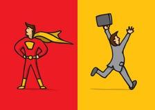 Super héroe contra cobarde stock de ilustración