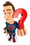 super héroe 3d que lleva a cabo un icono del signo de interrogación libre illustration