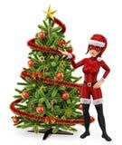 super héroe de la mujer 3D con un árbol de navidad libre illustration