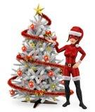 super héroe de la Navidad de la mujer 3D con un árbol de navidad blanco stock de ilustración