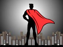 Super héroe de la silueta en la ciudad libre illustration