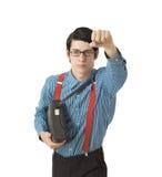 Super héroe del hombre de negocios del empollón Imagenes de archivo