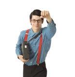 Super héroe del hombre de negocios del empollón Imagen de archivo libre de regalías