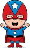 Super héroe del niño emocionado stock de ilustración