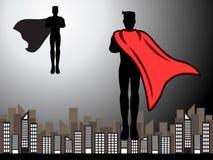 Super héroe del vuelo listo para la silueta de la lucha libre illustration