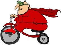 Super héroe en un triciclo stock de ilustración