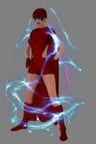 Super héroe femenino rodeado por el campo de fuerza Imágenes de archivo libres de regalías