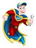 Super héroe que detiene a la llave inglesa Foto de archivo libre de regalías