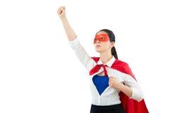 Super héroe que gesticula la mano del aumento del fistand arriba Imágenes de archivo libres de regalías