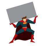 Super héroe que levanta la caja pesada Fotografía de archivo