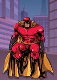 Super héroe que se sienta en ciudad stock de ilustración