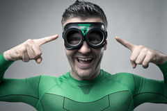 Super héroe que tiene una gran idea Fotografía de archivo