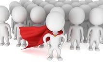 Super héroe valiente con la capa roja ante una muchedumbre Imagen de archivo libre de regalías