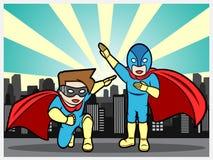 Super héroes en la ciudad Foto de archivo libre de regalías