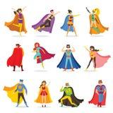 Super héroes femeninos y masculinos en traje divertido de los tebeos stock de ilustración