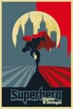 Super héros couru de la ville Affiche graphique bleue et rouge Photo libre de droits