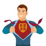 Super héros déchirant sa chemise et costume avec une inscription GDPR Photos stock