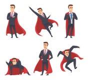Super héros d'homme d'affaires L'action volante debout de manteau rouge de travailleurs de directeurs de directeurs de bureau pos illustration de vecteur