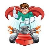 Super héros de bande dessinée avec la tondeuse à gazon Images libres de droits
