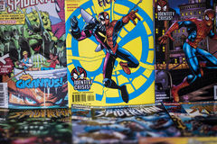Super héros de bandes dessinées de merveille de Spider-Man photos stock