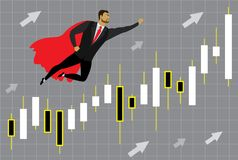 Super héros et diagramme d'homme d'affaires avec des chandeliers du Japon au succe illustration libre de droits