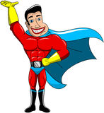 Super héros jugeant la main de paume d'isolement Image stock