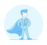 Super héros plat linéaire posant le vecteur rouge de cap de costume illustration stock