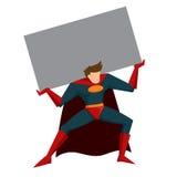 Super héros soulevant la boîte lourde Photographie stock