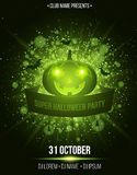Super halloween party. Ribbon banner. Abstract bright flash of light with green lights. Green cartoon pumpkin, spiders and bats. T Stock Photography
