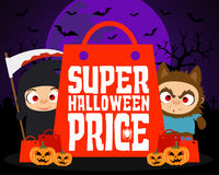 Super Halloween price design background Stock Images