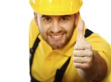 Super handyman. Closeup portait of super hero handyman isolated on white royalty free stock image