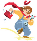 Super handyman. Cartoon handyman appears with his tool case. flat colors without gradients Royalty Free Stock Images