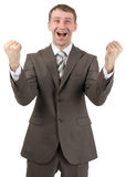 Super happy businessman raised his hands up Stock Image