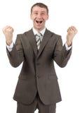 Super happy businessman raised his hands up Stock Image
