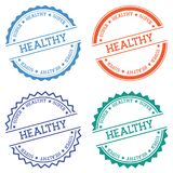 Super healthy badge isolated on white background. Flat style round label with text. Circular emblem vector illustration Stock Photo