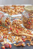 Super Healthy Homemade Granola. Make your own granola for breakfast or just snacking. Good way to start your day Royalty Free Stock Photography
