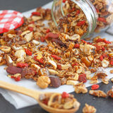 Super Healthy Homemade Granola. Make your own granola for breakfast or just snacking. Good way to start your day Royalty Free Stock Image