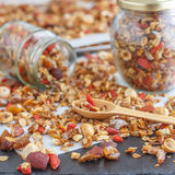 Super Healthy Homemade Granola. Make your own granola for breakfast or just snacking. Good way to start your day Stock Photography