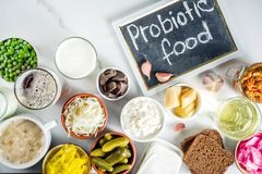 Super Healthy Probiotic Fermented Food Sources stock images