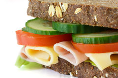 Super healthy salad , cheese and ham sandwich Stock Image