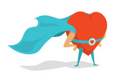 Super heart love hero wearing a cape Royalty Free Stock Photos